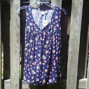 Navy Flowers Floral - Sleeveless Blouse - NWT